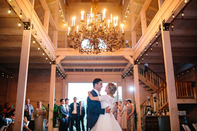 bride and groom dance their first dance at Edel Haus Farms in NJ